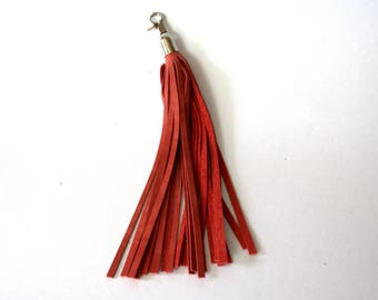 Luxury red leather tassel. Leather purse charm. Genuine leather key chain. Key holder. Fringe fob. Handbag charm. Gift for her.