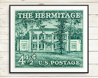 Large green posters, Nashville Tennessee, famous US architecture posters, US history wall art, President Andrew Jackson print, The Hermitage