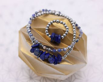 Set Bracelets and ring lapis lazuli and Sodalite