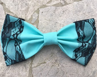 Tiffant blue hair bow/ bow tie with black lace