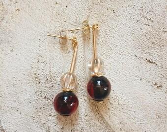 Ruby - Vintage / art deco / retro style / 20s / 30s / beads / drop earrings. Dangle earrings