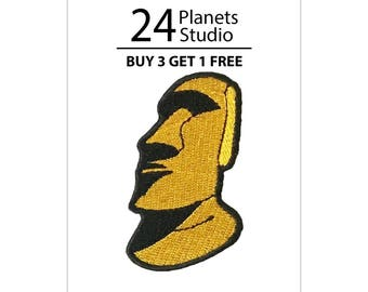 Moai Yellow Iron on Patch by 24PlanetsStudio