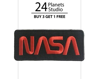 Red NASA Iron on Patch by 24PlanetsStudio