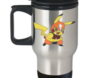 CosPlay Pikachu Pokemon Fan Favorite Fighting Dress Up Electric Rat Alola Region Word Cloud on Stainless Steel Travel Coffee Mug With Lid