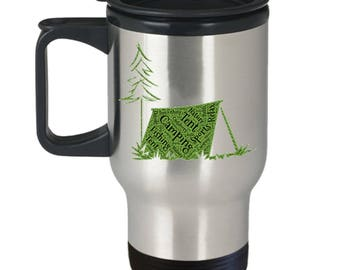 CAMPING TRAVEL MUG! Tent Camping Fishing Hunting Relaxation Outdoorsman Gift Insulated Stainless Steel Travel Coffee Mug With Lid