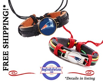 NeW ENGLaND Football LEATHER BRaCELET, Adjustable, 2 Colors **FAST & FReE SHiPPiNG**