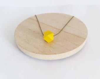 Geometric necklace mustard yellow wood beads
