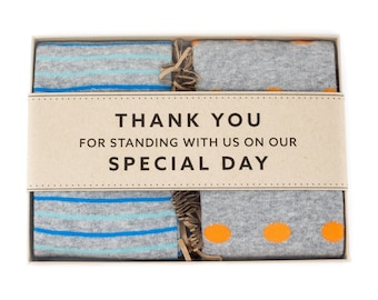 Groomsmen Thank You Wedding Sock Gift Box | Men's Dress Socks | Groomsmen Gift Idea | Groomsmen Proposal | Gifts for Wedding Party