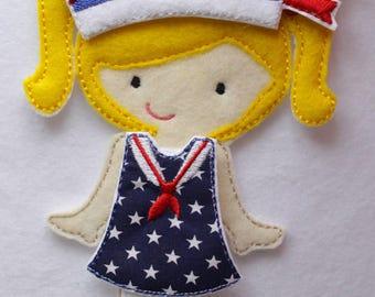 Sailor Dress for Felt Doll, Felt Dress, Dress, Flat Felt Doll, Dress Up Doll, Paper Doll, Girl Dress Up Doll, Travel Toy, Imagination Play