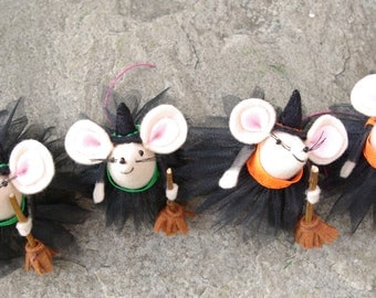 Halloween mouse, Witch mouse, Felt mouse, Halloween decoration, Cute witch,