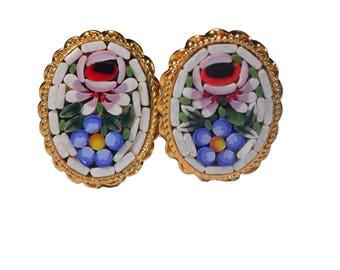 Vintage Micro Mosaic Clip-On Earrings