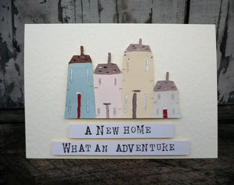 Hand painted greetings card for new home-illustrated card-new house card-new home