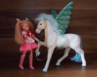 Sailor Chibi Moon Chibiusa Figure Doll + Pegasus Helios Horse Vintage Very Rare