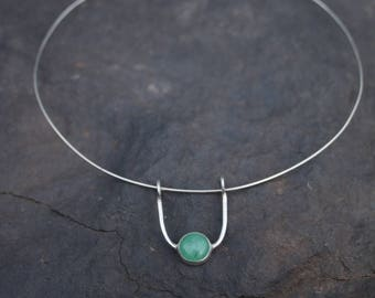 Suspended Aventurine Stone with silver choker
