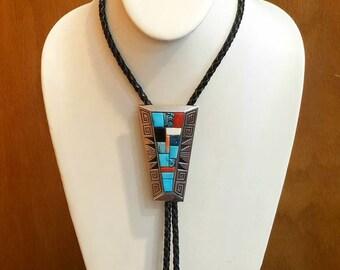Vintage Native American Navajo Handmade Sterling Silver Multi-Stone Cobblestone Inlay Bolo Tie by Alvin Begay