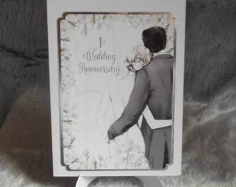 1st Wedding Anniversary Card, Handmade for Daughter and Husband, Son and Wife, names can be added if required,