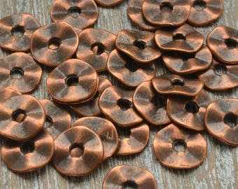 Copper Spacer Beads, Loose Beads. Heishi Beads, Disc Beads, Flat Beads, Bracelet Spacers, Bead Supply, 7mm Disc Beads, Pack of 100