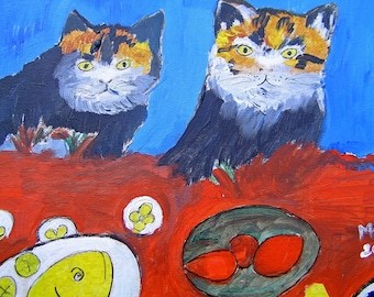 PAINTING CATS-THE CATS PAINTING - ORIGINAL PAINTING