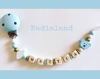 Pacifier holder with baby name/ Baby boy/ Natural wood/ Dummy chain/ Handmade/ Beaded pacifier clip/ Personalized pacifier holder/ Baby gift