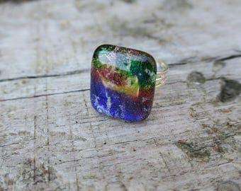 Multi-coloured Dichroic Glass Ring