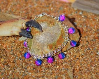 blue purple cracked beaded bracelet