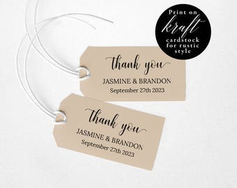 Wedding Favor Tags Printable, Wedding Favor Tags Template, Favor Tags Downloadable, Wedding Thank You Tags, PDF Instant Download #E017