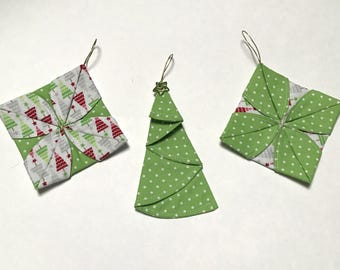 Diamond Tree Unique super cute Multi-Coloured Origami Folded Fabric Christmas Tree Ornament - unbreakable - PRICE for SET of 3 ORNAMENTS