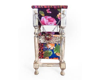 Small Console Table with Basket Fabric Decoupage