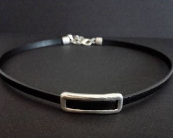 Genuine Leather Chocker, Antique Silver Plated Choker Necklace, Leather Collar,  Boho Chocker, Black Leather Necklace