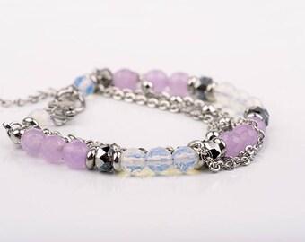 Lavender bracelet, multi-chains, stainless steel, swarovski