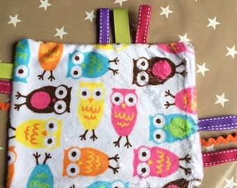 Minky baby blanket soft owls theme
