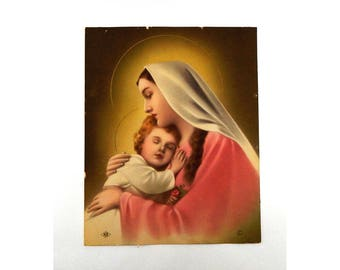 Vintage Virgin Mary Holding Baby Jesus - Religous Lithograph - NB 6030 - 1940 N.G. Basevi - Madonna and Child - Rare!