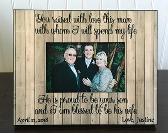 Mother in law personalized picture frame / Mother of the groom gift // in laws gift / parents of the groom gift / he is proud to be your son