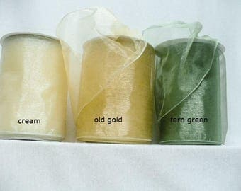 "Wide sheer ribbon, 5 inch sheer wired ribbon, sheer decorating ribbon wired 5"" x 20 yards"