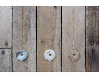 Semi Precious Donut Pendant Necklace
