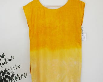 SOLEIL | locally foraged jewelweed + osage orange dyed linen tunic dress with pockets