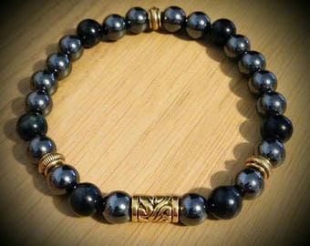 Viking Inspired Hematite and Onyx beaded bracelet