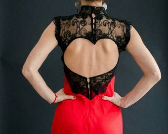 Red prom gown, Black corset dress, Gothic prom dress hidden zipper, Red evening gown ,with open back, Gown custom made, Handmade lace dress