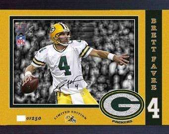 Brett Favre Green Bay Packers NFL signed autograph Sports Memorabilia Framed