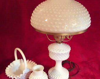 Fenton Hobnail Milk Glass Electric Hurricane Lamp with bonus
