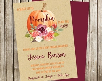 Floral Pumpkin Baby Shower Invitation, Pumpkin Invite, Autumn Invitation, Fall Floral Invitation, Digital Invitation