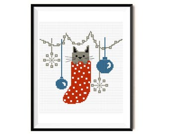Christmas cross stitch pattern, cat cross stitch pattern, animal cross stitch, modern cross stitch, Christmas gift cross stitch, PDF