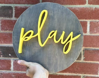 Round Play Sign, Play Sign, Play Room Sign, Play wood letters