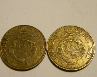 2007 Costa Rica 50 Colones Foreign Tropical Coin -- 1 Coin Only ( 2 Available ) #86