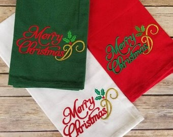 Christmas Kitchen Towels Hand