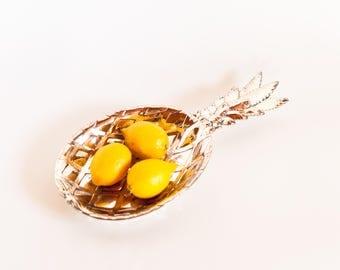 Pineapple Serving Bowl, Pineapple Trinket Dish, Mid-century Pineapple Bowl, Silverplate Pineapple Catchall, Pineapple Decor Silver Ring Dish
