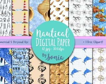 DIGITAL Download-Nautical themed Seamless patterned paper!12 designs: 12x12 inches, 300dpi. Commercial & personal use!