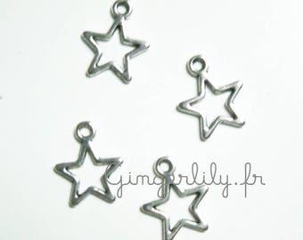 5 silver metal star charm