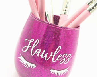 Flawless Pink Glitter Makeup Brush Holder, Glitter Makeup Glass, Glitter Makeup Cup, Flawless Makeup Brush Holder
