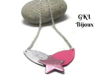 Necklace lamb leather, silver petals and fuschsia, metallic pink star, mesh chain jaseron, snap clasp